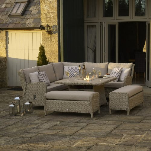 Bramblecrest Chedworth Reclining Modular Sofa with Square Casual Dining Table with Ceramic Top and Firepit, and 2 Benches - Sandstone
