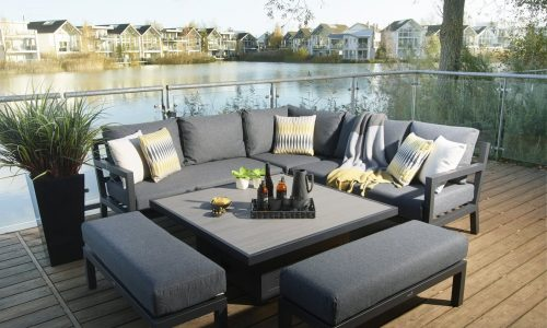 Bramblecrest La Rochelle Square Modular Sofa with Adjustable Ceramic Top Casual Dining Table & 2 benches