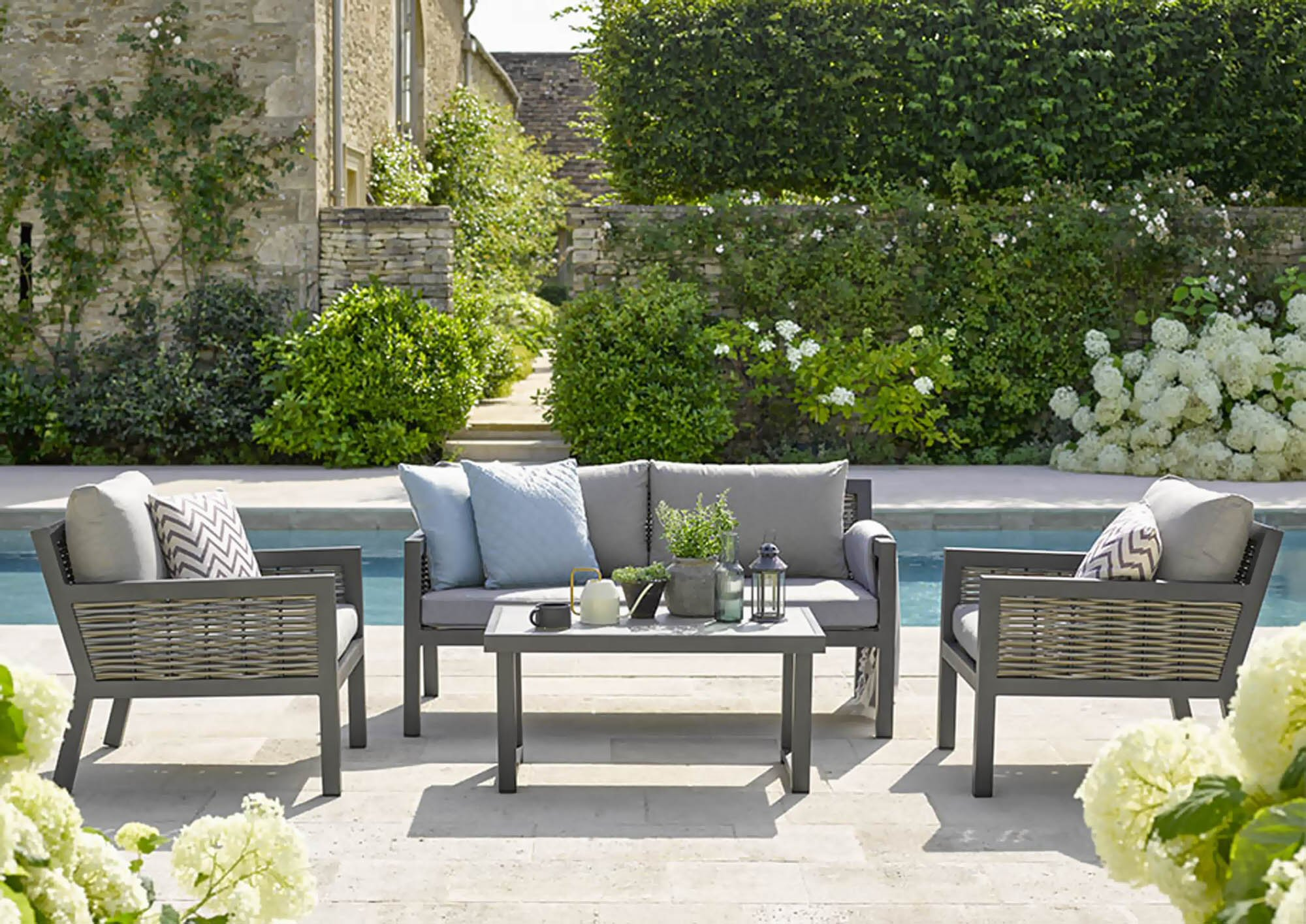Bramblecrest Portofino 2 Seater Sofa with 2 Armchairs & Rectangle Ceramic Top Coffee Table