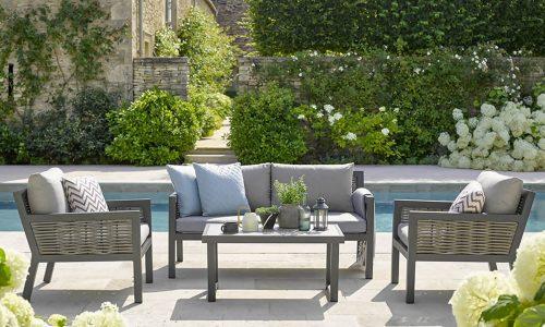 Bramblecrest Portofino 2 Seater Sofa with 2 Armchairs and Rectangle Ceramic Top Coffee Table