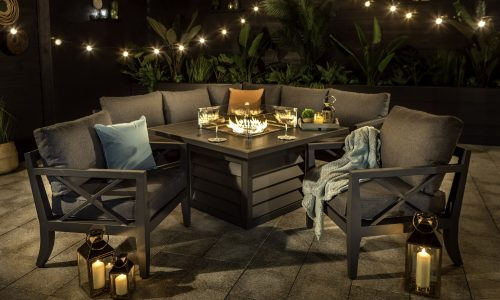Sorrento Square Casual Dining with Gas Fire Pit Night Shot