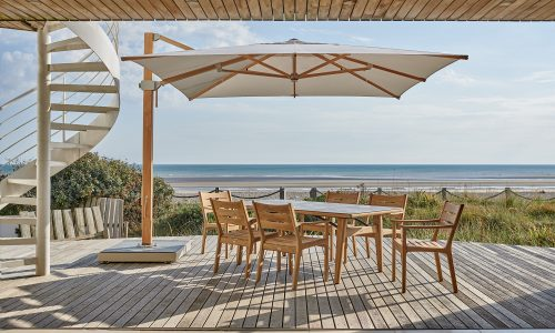Monterey Table and Armchairs with Napoli Cantilever Parasol