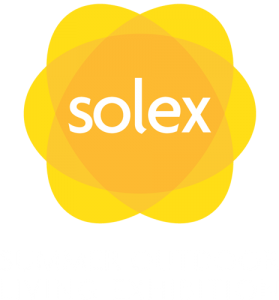 SOLEX logo with title in white