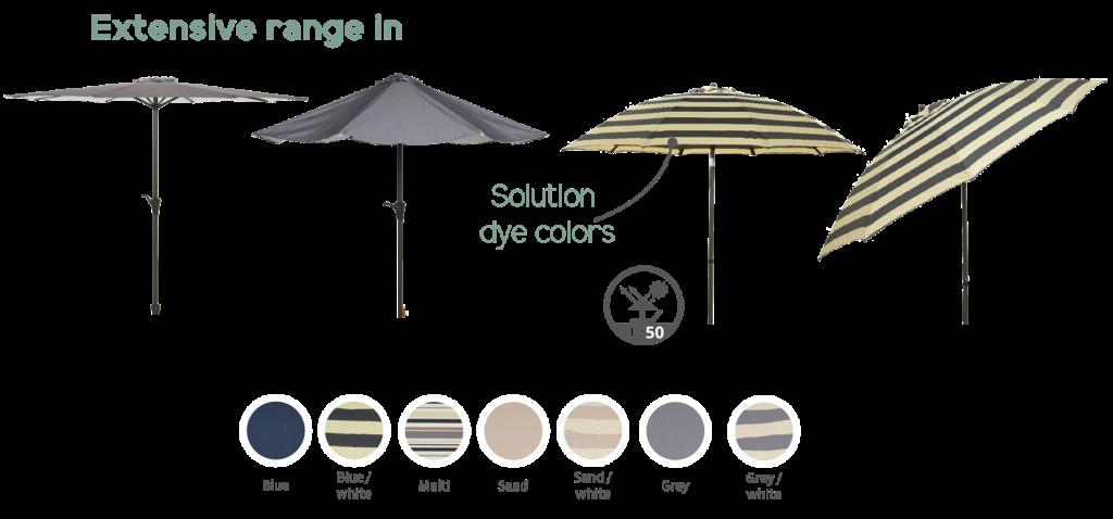 kaemingk-UV50-range-of-parasols-matching-wicker-and-pebble-design-bases