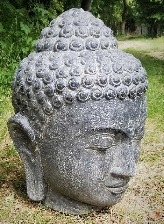 Buddha Head available in 50, 75, 100, 132cm high. Made in cast stone. Can be used as a water feature.