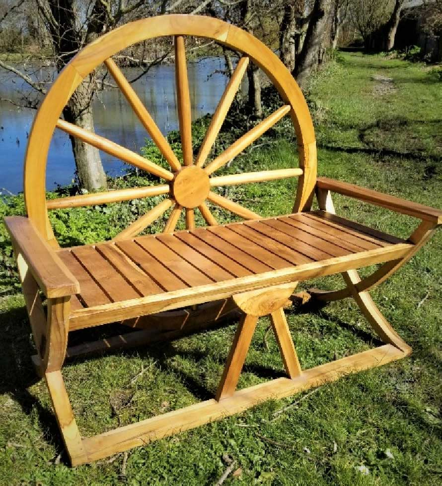 Java Wheel Bench 65x120x110cm. Made from sustainable Teak in Java, Indonesia. Seats 2 people
