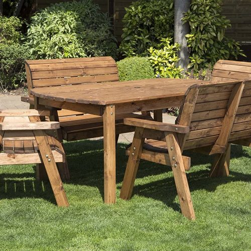 Charles Taylor Trading Hand Made 6 Seater Rustic Wooden Garden Furniture Table and Bench Chairs Set