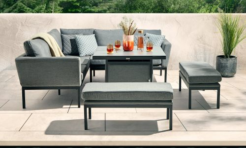 Desser Aruba Corner Casual Dining Set with Square Fire Pit Table