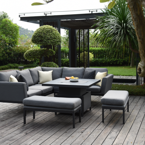Desser Aruba Patio Corner Sofa Set with Adjustable Table