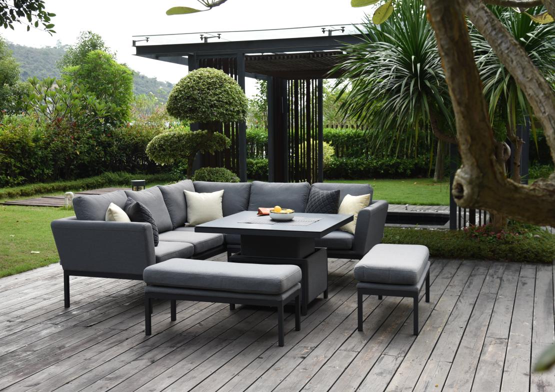 Desser Aruba Patio Corner Sofa Set with Adjustable Table