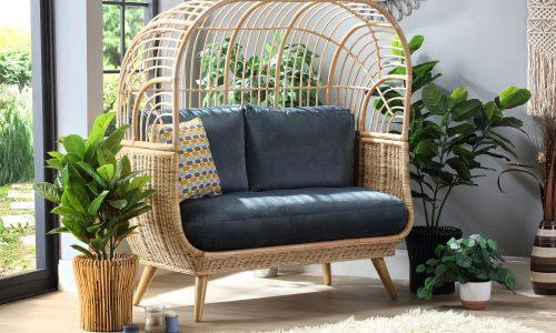 Desser Natural Cocoon Sofa in Velvet Blue Fabric