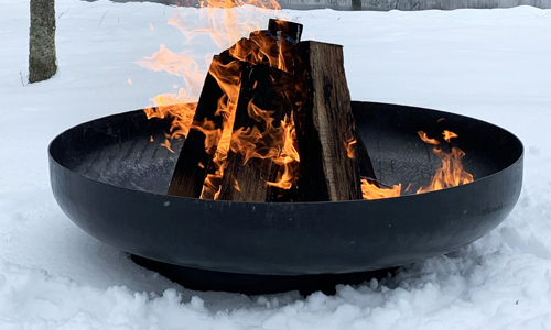 Fallen Fruits Fire Bowl FF478 in the snow