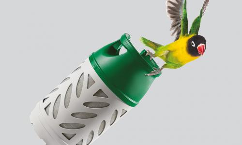 Flogas Lighter - bird flying with Gaslight cylinder