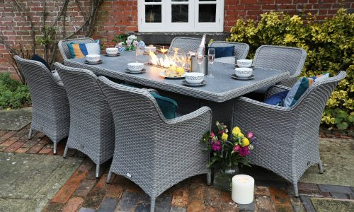 Supremo Leisure Catalan 8 Seat Rectangular Dining Set with Fire Pit
